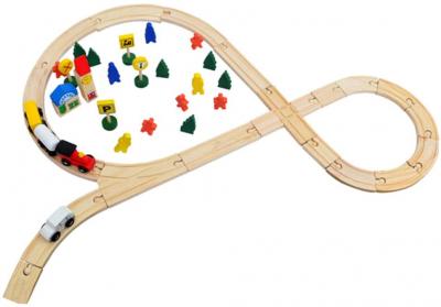 Circuit din lemn cu locomotiva semne de circulatie , braduti , cladiri si omuleti 48 de piese [4]