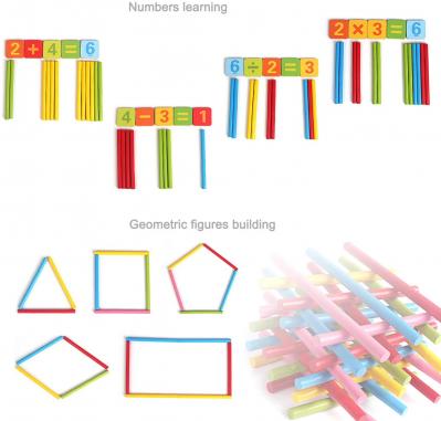 Joc de aritmetica  cu cifre simboluri matematice magnetice si betisoare din lemn2