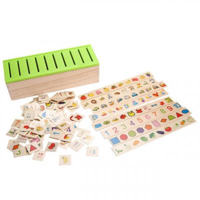 Joc Montessori In limba Romana de sortare si asociere cu 88 de piese din lemn0