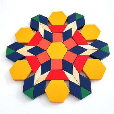Joc Tangram din lemn 250 piese geometrice multicolore4