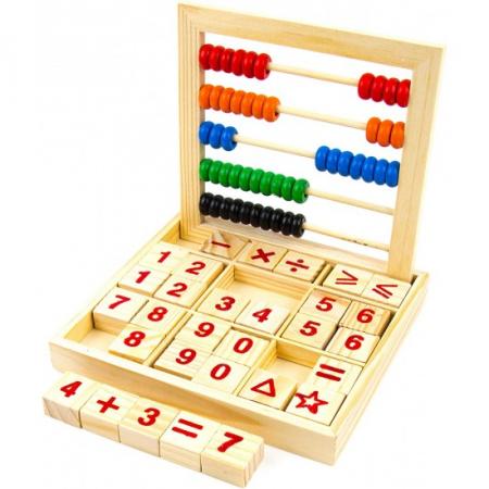 Numaratoare din lemn Montessori cu cifre litere si operatii matematice [0]