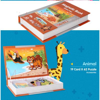 Joc educativ Carte magnetica cu piese puzzle Magnetic Book Animal Spell3