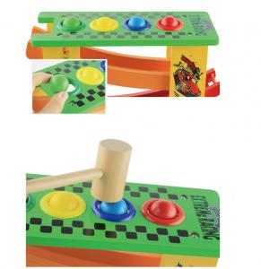 Circuit lemn  cu 8 masinute ciocanel cu bile colorate si mini popice .1