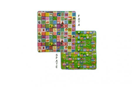 Covoras de Joaca  cu Litere Cifre si Animale  termoizolant cu 2 Fete - 150x180 cm [2]