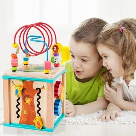 Cub Montessori din lemn cu 6 activitati [1]