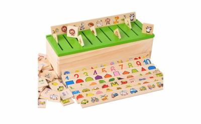 Joc Montessori In limba Romana de sortare si asociere cu 88 de piese din lemn1