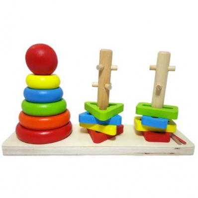 Turn  curcubeu 3 coloane din lemn Montessori .1