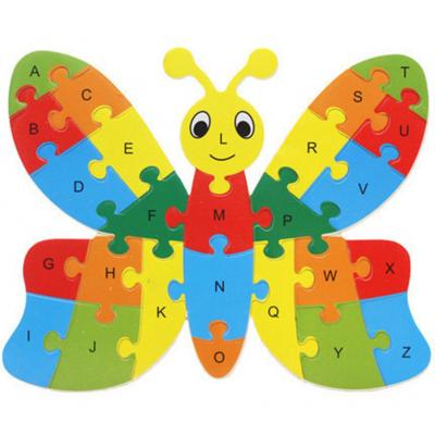 Fluture puzzle din lemn invata alfabetul si numerele0