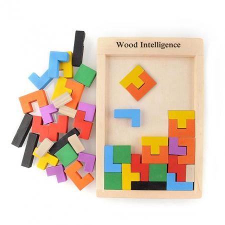 Joc de logica Tetris din lemn-aranjeaza formele geometrice Model Slim1