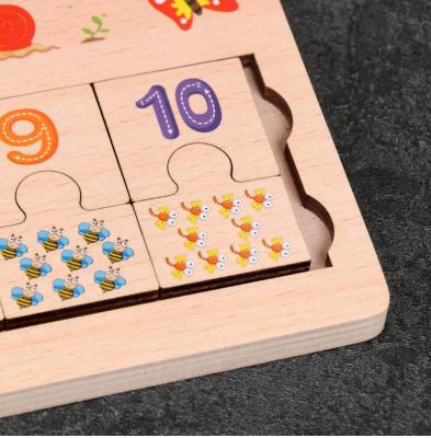 Joc din lemn de asociere numere stivuire si puzzle . [2]