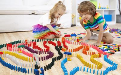 Joc Domino din lemn cu 360 de piese colorate1