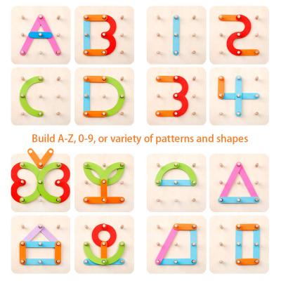 Placa Geoboard Din Lemn Montessori Joc Educativ De Imaginatie .2