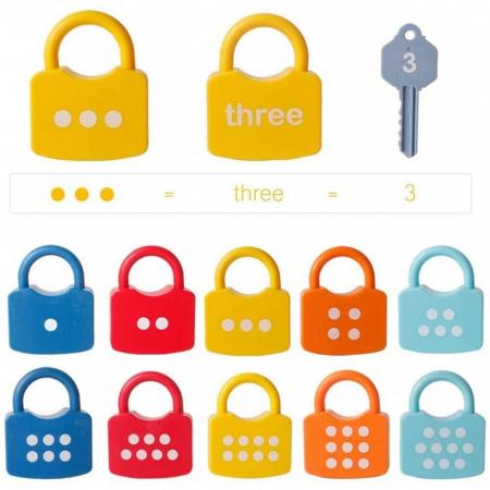 Joc cu numere Montessori - descuie si incuie cele 10 lacate [3]