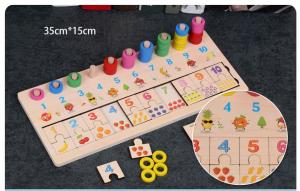 Joc din lemn de asociere numere stivuire si puzzle . [0]