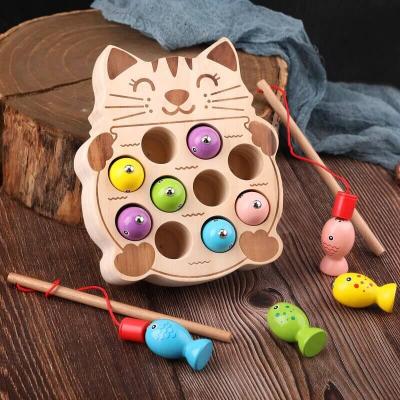 Pisicuta Joc Montessori de Pescuit din Lemn0