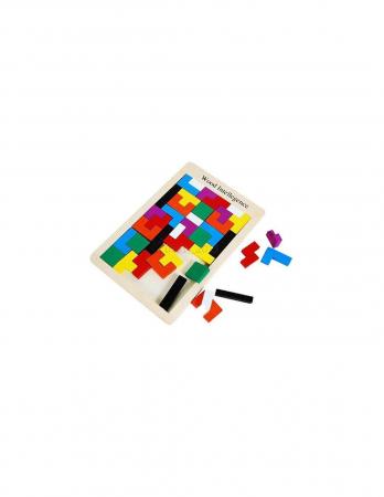 Joc de logica Tetris din lemn-aranjeaza formele geometrice Model Slim5