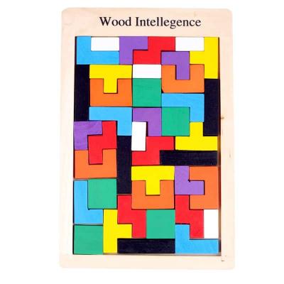 Joc de logica Tetris din lemn-aranjeaza formele geometrice Model Mare1
