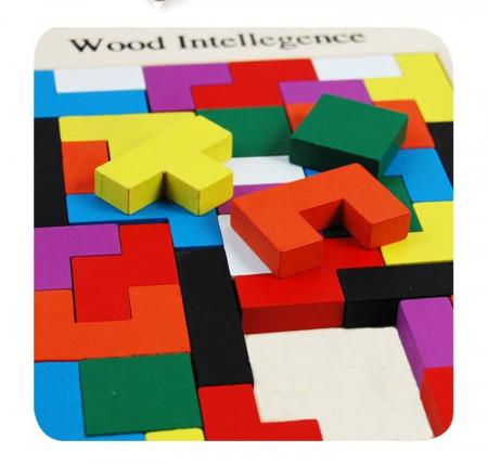 Joc de logica Tetris din lemn-aranjeaza formele geometrice Model Slim7