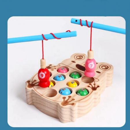 Joc Montessori  din lemn de pescuit - model broscuta2