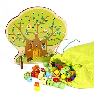 Copac Montessori Joc de snuruit cu fructe din lemn 102 piese [3]