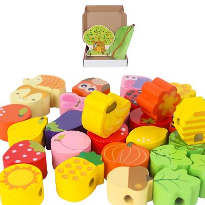 Copac Montessori Joc de snuruit cu fructe din lemn 102 piese [2]