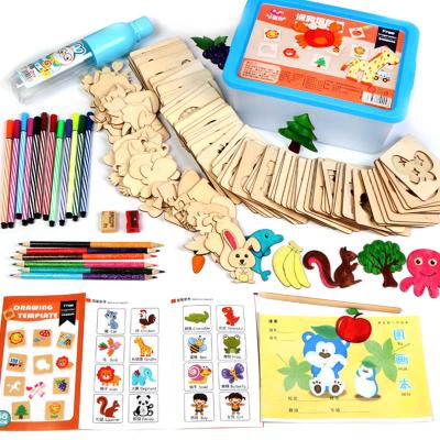 Kit complet pentru desen cu 56 sabloane din lemn si accesorii0