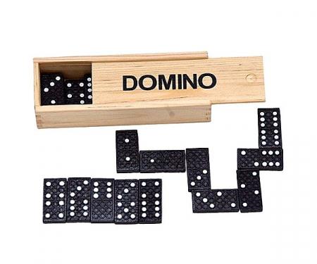 Joc de societate  Domino cu 28 de piese si cutie din lemn2