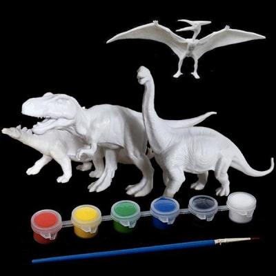 Kit Complet desen -Picteaza dinozaurul cu figurine acuarele si pensula4