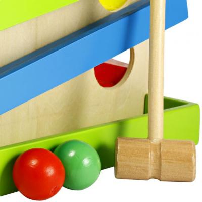 Jucarie din lemn cu bile ciocanel  4 piste. [1]