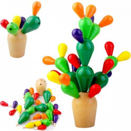 Cactus din lemn colorat-Jucarie de tip Montessori1