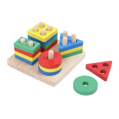 Jucarie lemn coloane sortator forme geometrice si culori. [0]