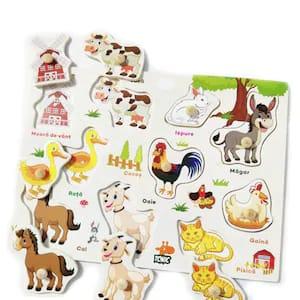 Puzzle din lemn in romana  -Invatam animalele domestice [1]