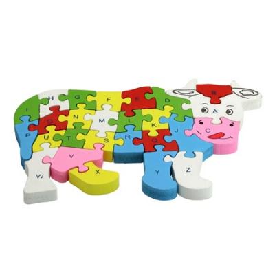 Vacuta puzzle din lemn invata alfabetul si numerele0