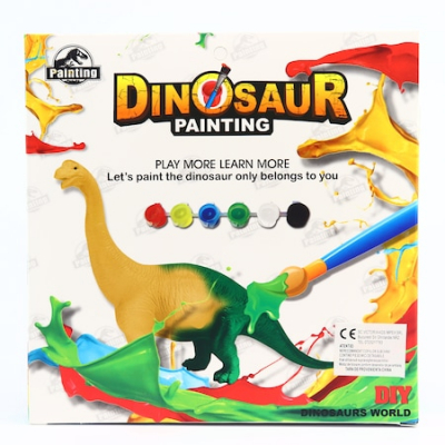 Kit Complet desen -Picteaza dinozaurul cu figurine acuarele si pensula1