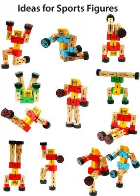 Robot din lemn Transformers-diverse culori .5