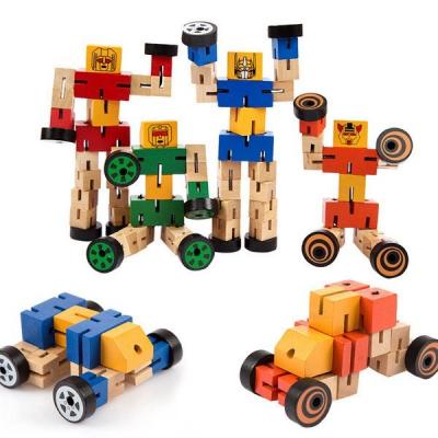 Robot din lemn Transformers-diverse culori .2