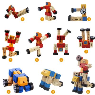 Robot din lemn Transformers-diverse culori .4