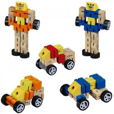 Robot din lemn Transformers-diverse culori .1