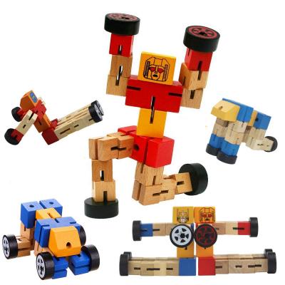Robot din lemn Transformers-diverse culori .3