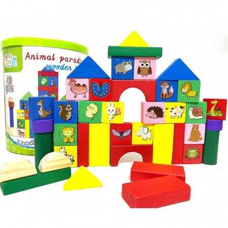 Set 40 de cuburi din lemn colorate pentru construit  in cutie [0]