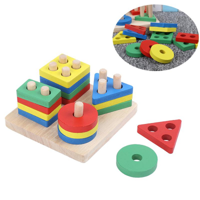 Jucarie lemn coloane sortator forme geometrice si culori. [3]