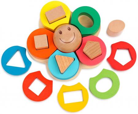 Sortator din lemn model floare  - invata formele geometrice si culorile3