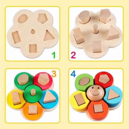 Sortator din lemn model floare  - invata formele geometrice si culorile2