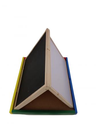Tabla de scris Montessori pliabila cu 2 fete in cutie de lemn 40X38 [2]