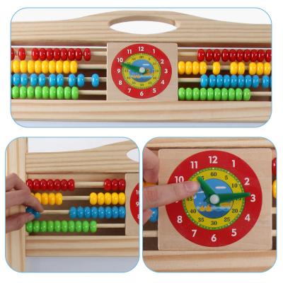 Tabla din lemn sevalet 3 in 1 cu abac ceas si litere magnetice2
