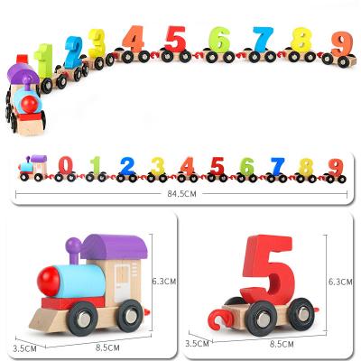 Tren din lemn cu numere colorate Digital Train3