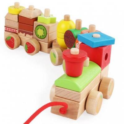 Trenulet Montessori din lemn Forme Si Fructe colorate .2