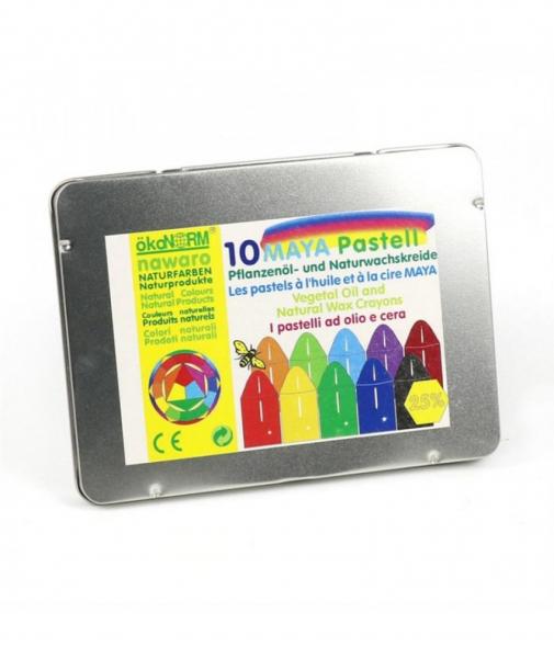 10 Creioane Cerate Naturale Pastel în Ulei ÖkoNORM Nawaro - Crete Maya în cutie metalică 0