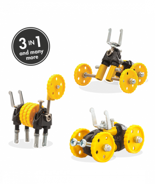 BlazeBit - 3 În 1 Yellow Vehicle Kit The OFFBITS - Set De Construit Cu Șuruburi Și Piulițe 0