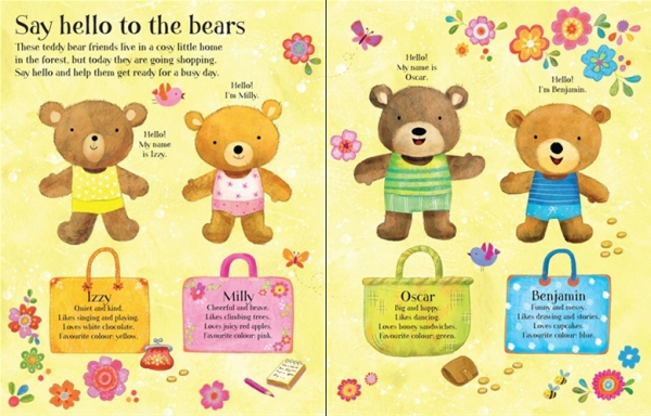 Dress the teddy bears going to the shops sticker book 3